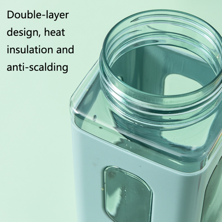 2 PCS Square Plastic Water Cup with Straw Outdoor Sports Large-Capacity Portable Kettles, Colour